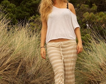 BEACH stripe casual lounge resort yoga striped pirate gypsy capris pants with drawstring on front or side