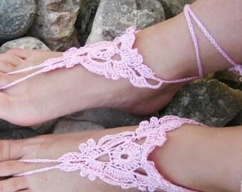 bridal sandals women barefoot summer sandals cotton barefoot pink Barefoot Sandals Pink Crocheted Handmade Nude Shoes