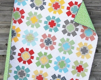 "Spin Cycle Quilt Pattern by Cluck Cluck Sew - Super FUN Fat Quarter Pattern - 75"" x 75"" (W4)"