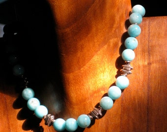 Beachy Blue Caribbean Amazonite Necklace Sterling Silver