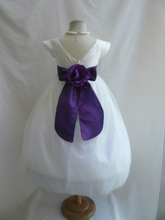 Flower girl dress ivory vback dress with purple by luunikids for Purple and ivory wedding dress