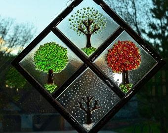 Four Season Diamond on Clear Glass - Fused Glass Art
