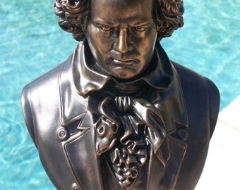 "Bronzed 18"" Beethoven Bust Sculpture Statue Signed Certificate New Direct from Artist Joel Montgomery"
