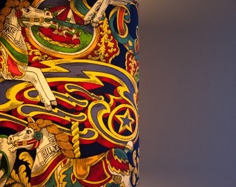 Handmade Vintage Fairground Horses Carousel Fabric Lampshade 30cm W 34 cm L