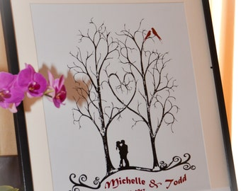 ThumbPrint Fingerprint  Signature Wedding Tree Guest Book Alternative / Gift / Trees with Couple Silhouette and Love Birds