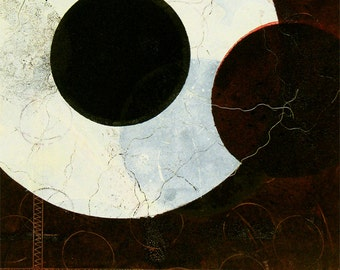 """Contemporary, oil based ink  MONOPRINT -""""You Lookin At Me"""".   14"""" x 11"""". Free U.S. shipping."""
