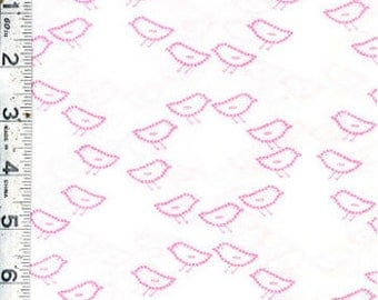 Sew Stitchy Circle Birds by Aneela Hoey for Moda Fabrics 18543 12 Carnation - 1/2 yard Pink Bird Fabric -