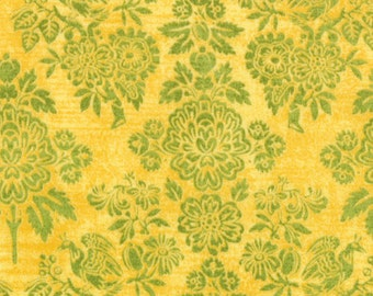 Floral Bird Fabric - Curio Victoria Damask by Basicgrey for Moda Fabrics 30273 14 Butternut - 27-Inch Remnant