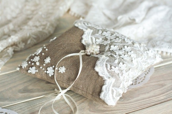 Items Similar To Vintage Wedding Ring Pillow With Lace And Pearl Burlap And