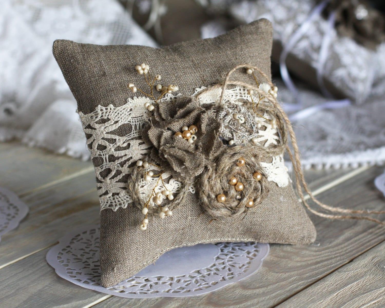 wedding ring bearer pillow burlap flowers ring pillow rustic
