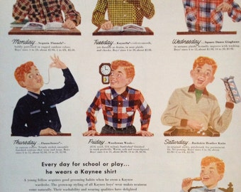 Vintage 1953 Kaynee Set O' Seven Shirts For Boys, Paper Ephemera from a Life Magazine.