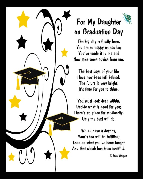 items similar to for my daughter on graduation day poem