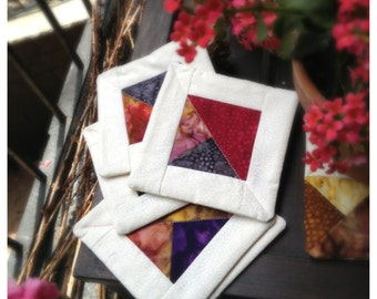 Square Quilted Mutli-Color Coaster Set