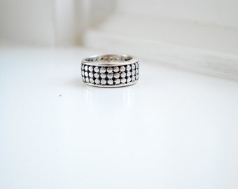 Wide Dot Silver Lattice Ring - Wide Silver Band - Silver Lattice Band Ring