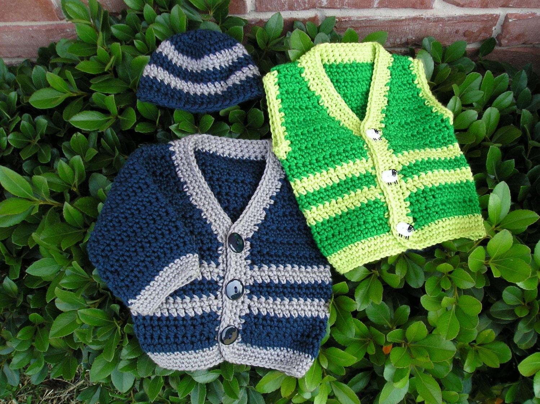 Crochet Baby Waistcoat Pattern : Pattern Crochet Baby Sweater Vest Cap