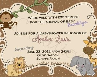 Simple Safari Babyshower Invite