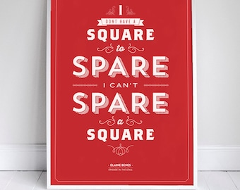 Spare a Square Poster - Seinfeld Quote Print - Vintage Retro Typography - Bathroom - 11 x 17 // 18 x 24 // 24 x 36