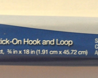 "Stick On Hook and Loop Velcro - White - 3/4"" Wide by 18 Inches"