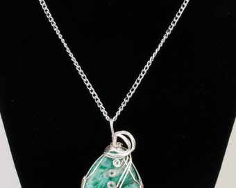 Wire-wrapped Crazy Lace stone pendant necklace