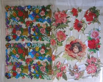 Lot Vintage Floral  Die Cut Originals / 2 Designs / Scrap Booking / Card Making