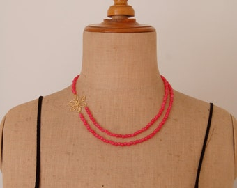 Neon pink a-symmetric necklace
