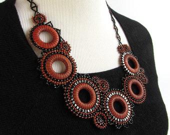 Modern Black and Orange Beaded Efflorescence Necklace