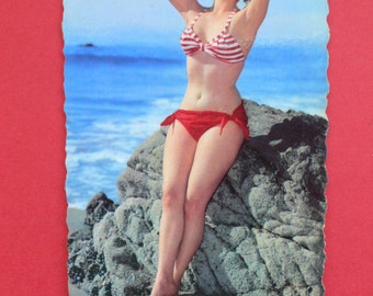 Vintage Pin Up Girl Beach Photo postcard France 1950's - 3