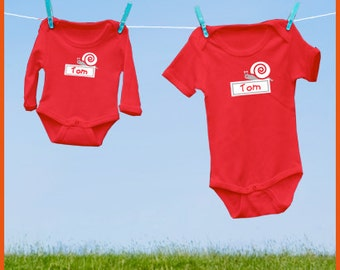 Personalized onesie with a snail