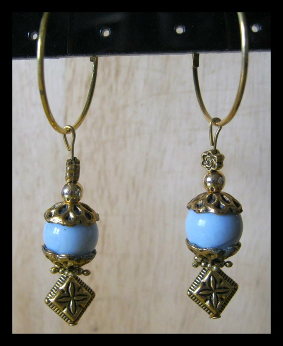 Handmade Gold Hoop Earrings with Blue Lace Agate & Rose by IreneDesign2011