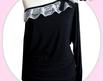 S M L XL XXL Sweet Batwing Shirt Vintage Lace Shirt Gothic romance Bohemian boho