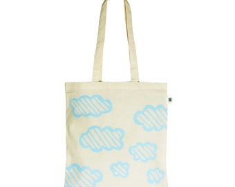 Clouds / eco tote bag / handprinted with light blue graphic clouds