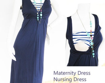 Maternity Dresses / Nursing Dress Breastfeeding / Nursing Clothes / Nautical NEW Dress / NAVY Dress / Maternity Clothes