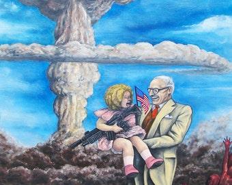 "Atomic Bomb Truman War Canvas Print of Original Painting  20""x30"""