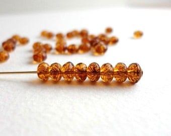 60 x 3x5mm Deep Amber Beads, Czech Glass Beads, Gemstone Donut Beads,  Rondelle Beads,  Faceted Beads GMD0022