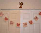 SALE Je T'aime fabric bunting banner garland, pink ivory floral stripe mauve hearts Anniversary French party decor love you Valentine's Day