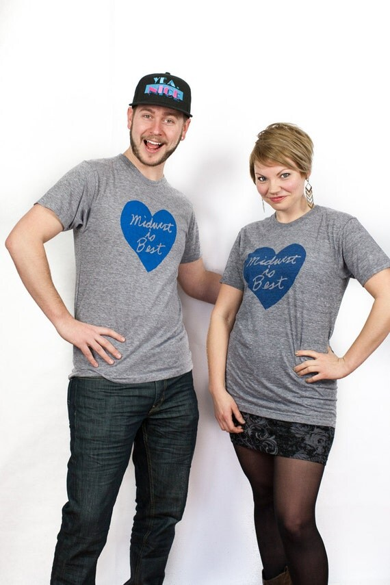 Unisex Midwest is Best Tshirt, Gray and Blue - FREE SHIPPING