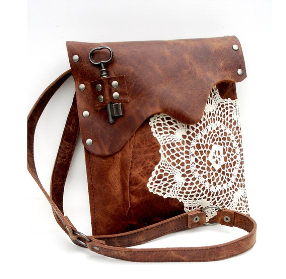 Leather Crochet Bag : Leather Boho Messenger Bag with Crochet Doily and Antique Key - Medium ...