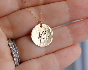 Gold Initial Necklace, Custom Letter Necklace, Hammered, Large Font, Fancy Script, Personalized Mother's Necklace, Monogram Pendant