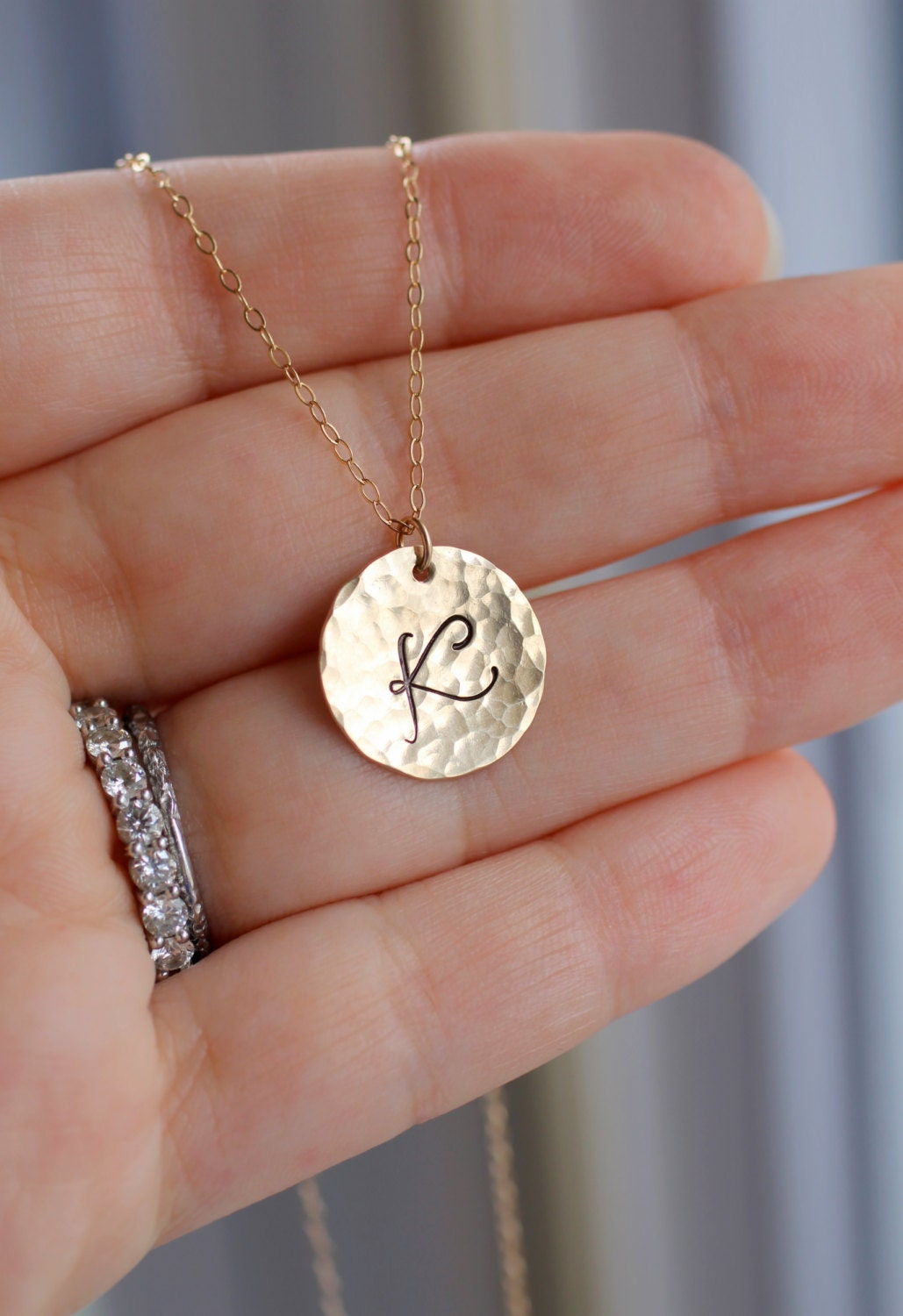 Gold initial necklace custom letter necklace hammered large for Custom letter necklace gold