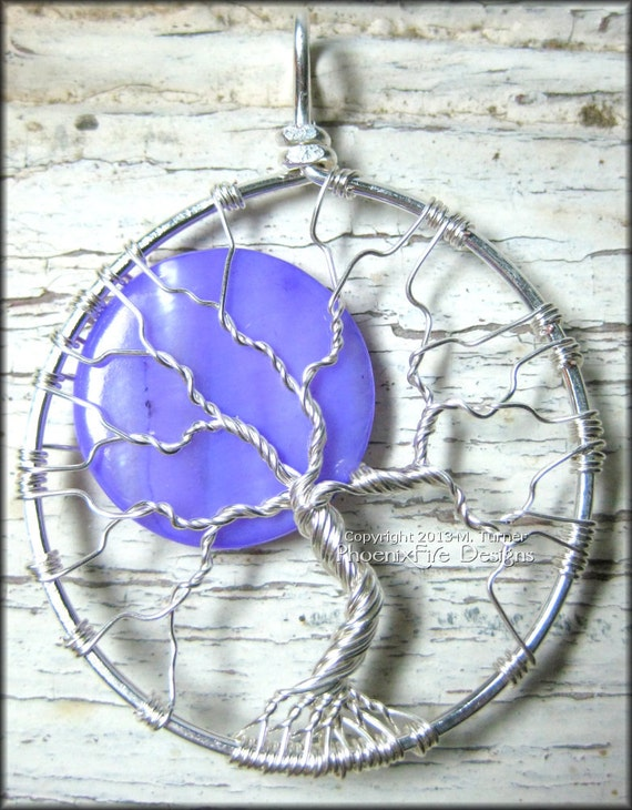 Purple Moon Tree of Life Pendant Silver Wire Wrapped Jewelry Pearl Shell Full Moon Necklace Celestial Jewelry Handmade PhoenixFire Designs