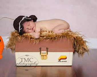 newborn baby boy fisherman hat and orange fish photography prop