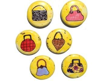 Handbag Magnets or Pinbacks - Purse Magnets, Purse Pins, Handbag Pinback Buttons, Set of 6 Magnets or Pins, fridge magnet set, pin set