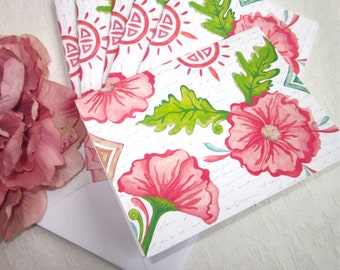 Note Cards-CORAL FLORAL-Set of 6