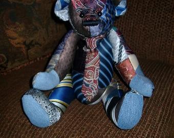 6) Necktie Patchwork Memory Bear