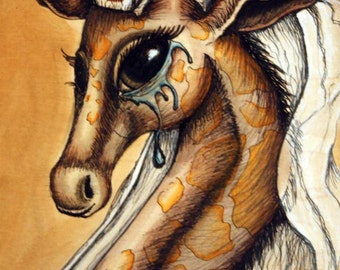 Giraffe Art -  Illustration - Giraffe Painting - Anthropomorphic Giraffe