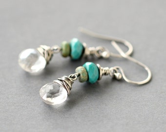 Turquoise Crystal Earrings Stone Aqua Green Sterling Silver Oxidized December Birthstone - Lucky