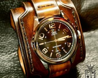 Leather cuff watch Tobacco sunburst wide layered Brown watch band cuff Bracelet  Handmade for YOU in NYC by Freddie Matara