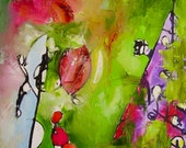 "Original painting, ""Spring Clowns"", on offer, abstract, small, green, purple, cherry, tulip red, 30 x 40 cm"