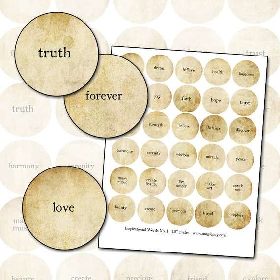 Inspirational Words No. 1 Digitial Collage sheet 1.5 inch rounds circle sepia natural