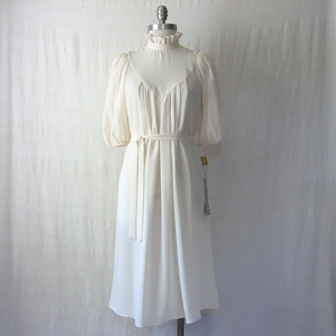 1970s NOS Dress Boho Wedding Dress Victorian Revival Ruffle